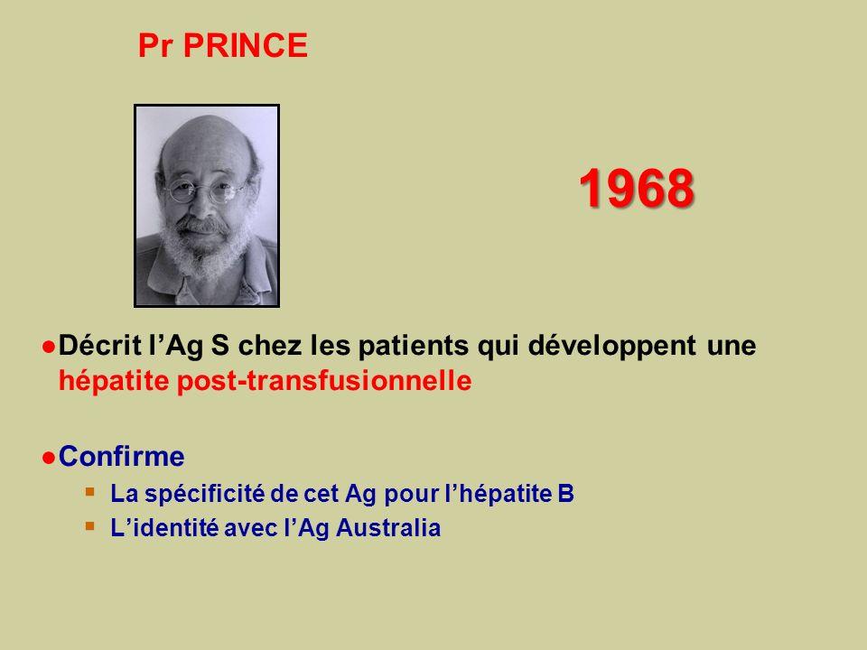 Pr PRINCE 1968. Décrit l'Ag S chez les patients qui développent une hépatite post-transfusionnelle.