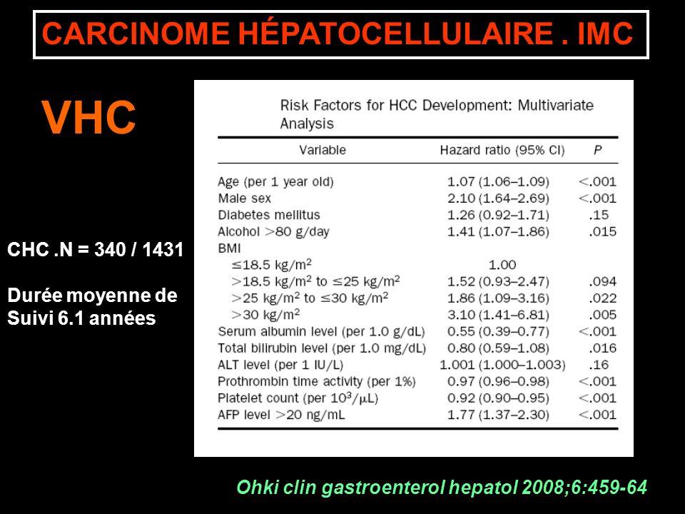 VHC CARCINOME HÉPATOCELLULAIRE . IMC CHC .N = 340 / 1431