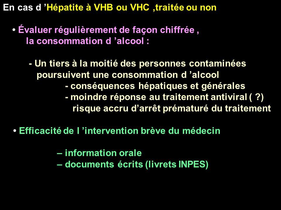 En cas d 'Hépatite à VHB ou VHC ,traitée ou non