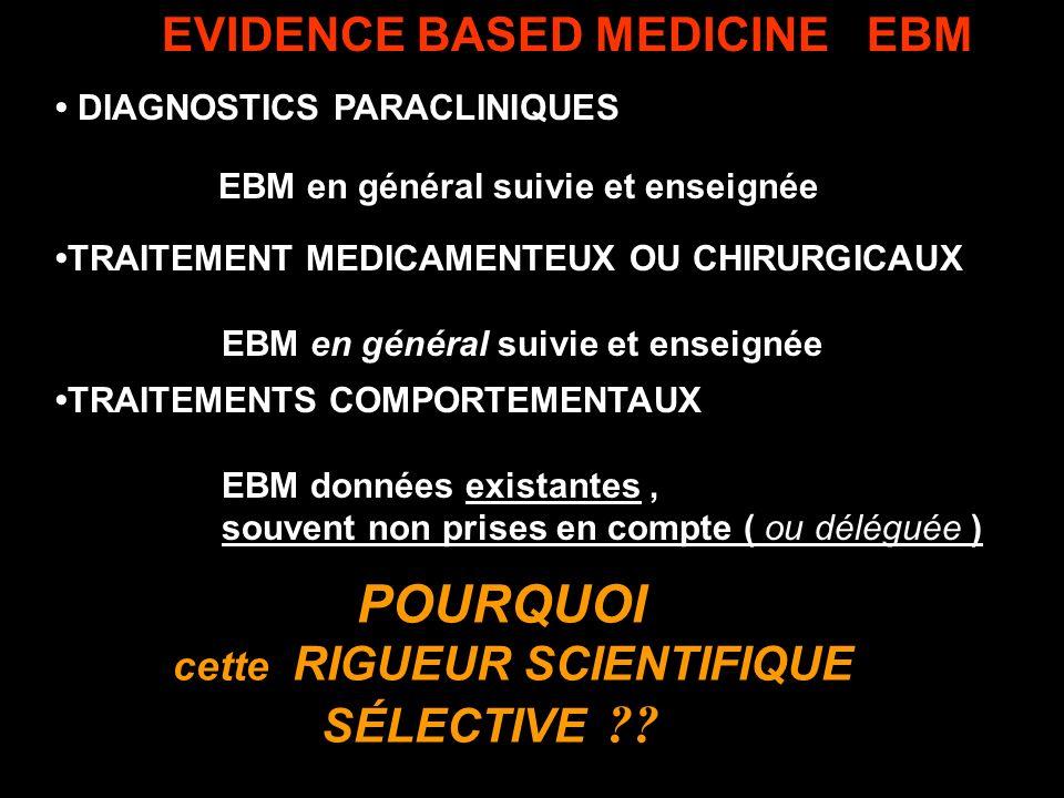POURQUOI EVIDENCE BASED MEDICINE EBM cette RIGUEUR SCIENTIFIQUE