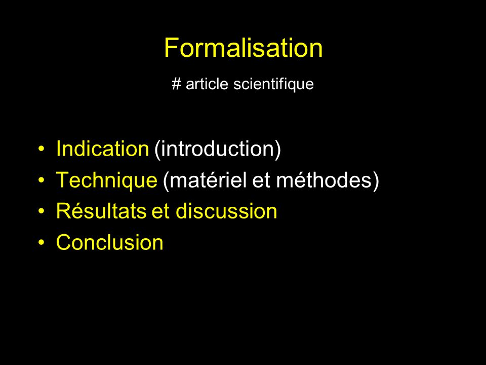 Formalisation # article scientifique