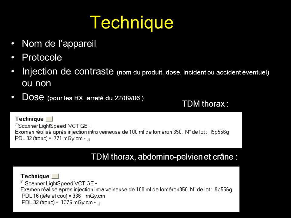 Technique Nom de l'appareil Protocole