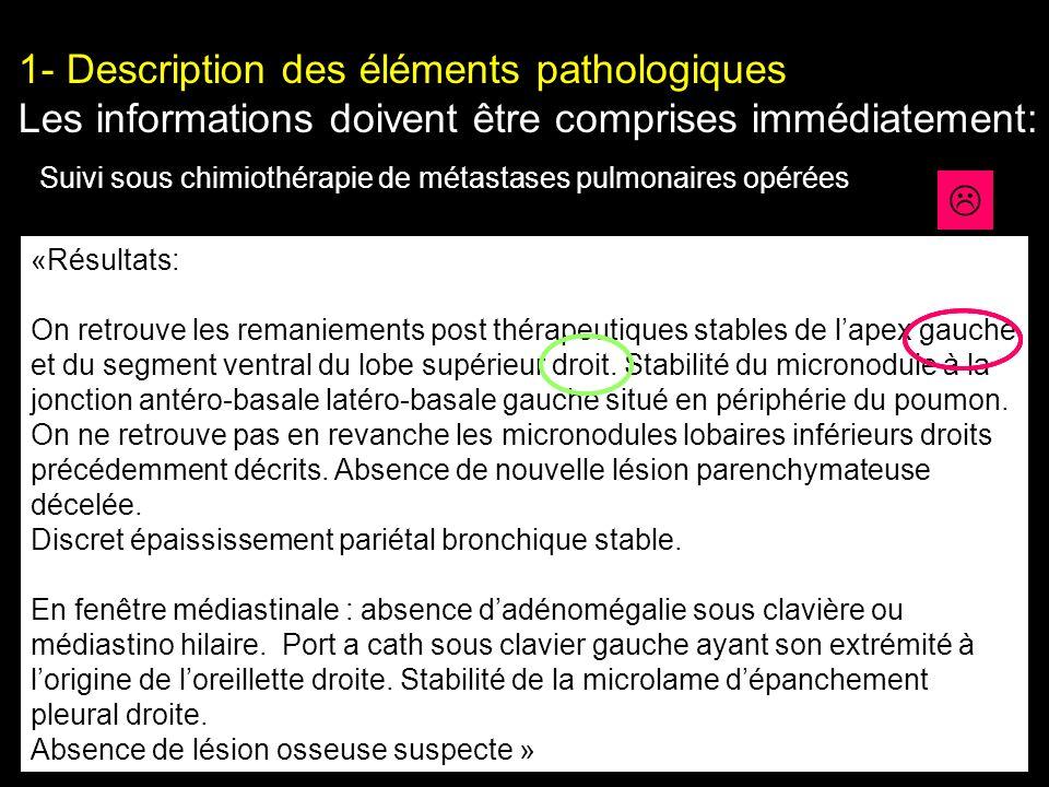 1- Description des éléments pathologiques