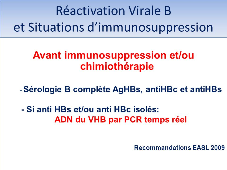 Réactivation Virale B et Situations d'immunosuppression