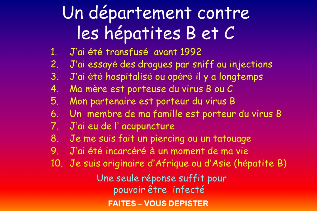 Un département contre les hépatites B et C