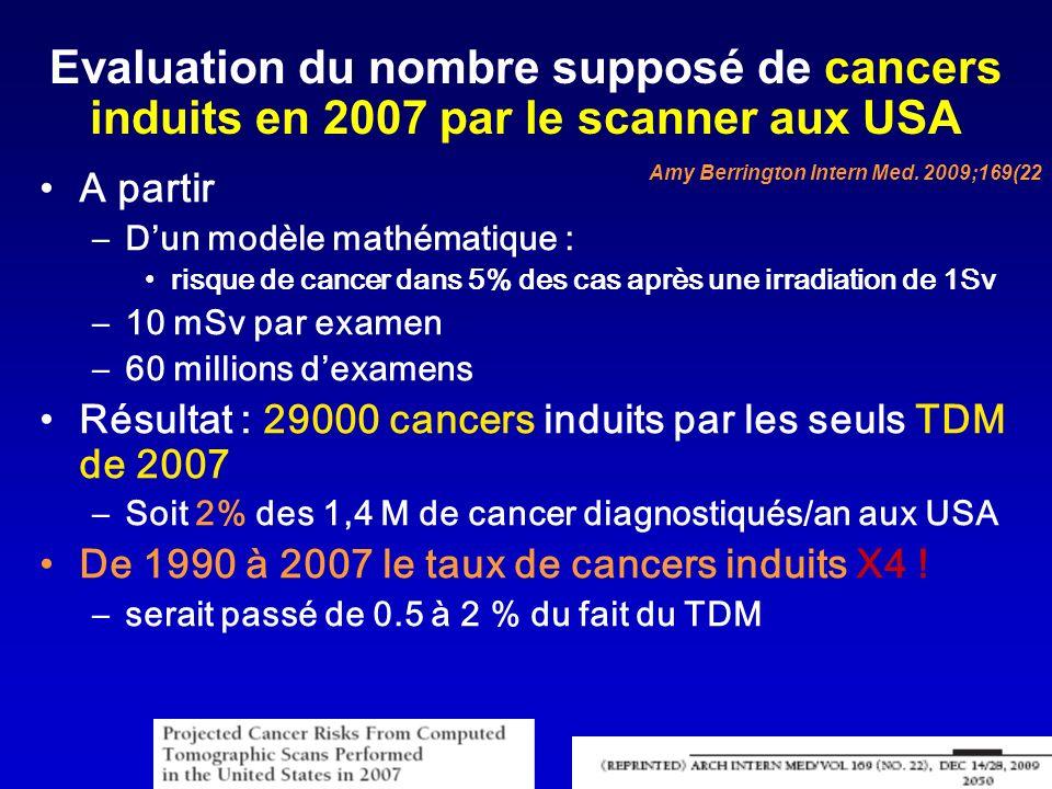 Evaluation du nombre supposé de cancers induits en 2007 par le scanner aux USA