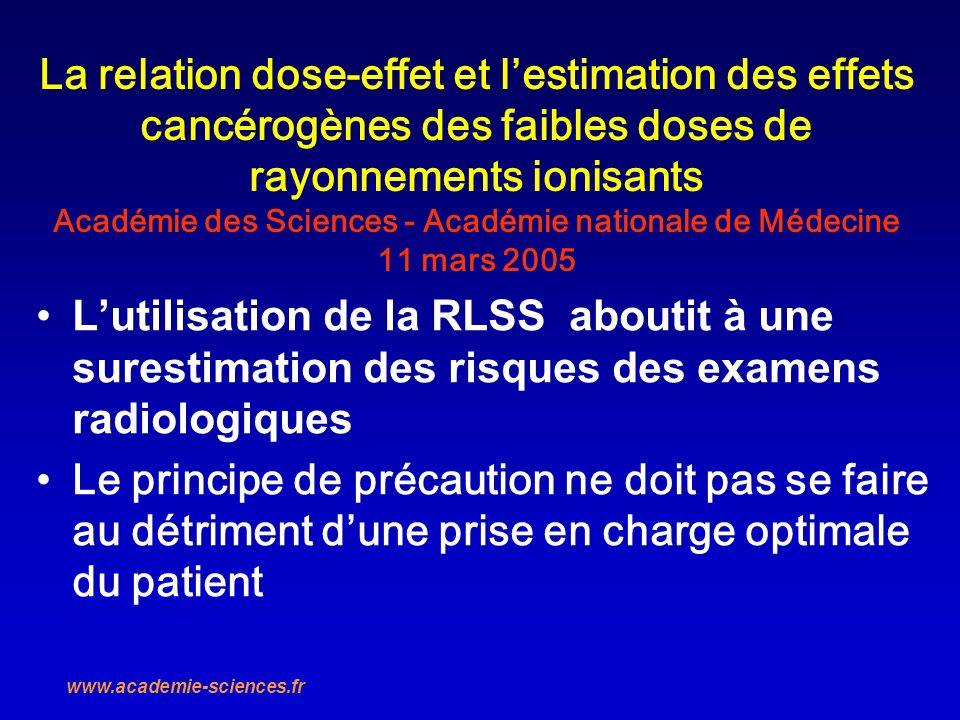 La relation dose-effet et l'estimation des effets cancérogènes des faibles doses de rayonnements ionisants Académie des Sciences - Académie nationale de Médecine 11 mars 2005