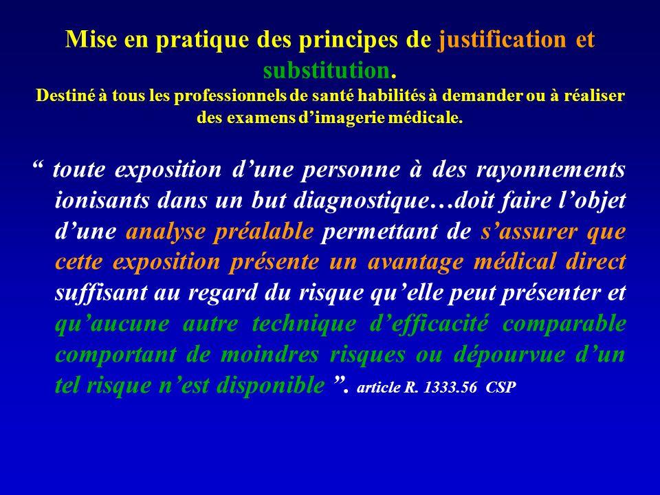Mise en pratique des principes de justification et substitution