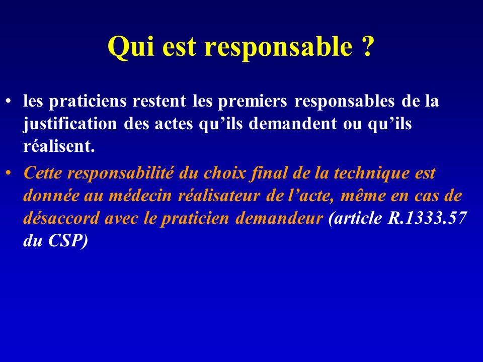 Qui est responsable les praticiens restent les premiers responsables de la justification des actes qu'ils demandent ou qu'ils réalisent.