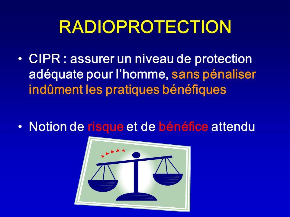 RADIOPROTECTION CIPR : assurer un niveau de protection adéquate pour l'homme, sans pénaliser indûment les pratiques bénéfiques.