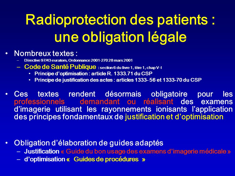 Radioprotection des patients : une obligation légale