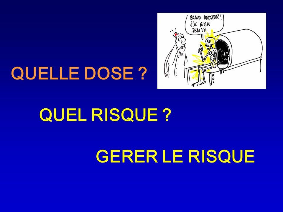 QUELLE DOSE QUEL RISQUE GERER LE RISQUE