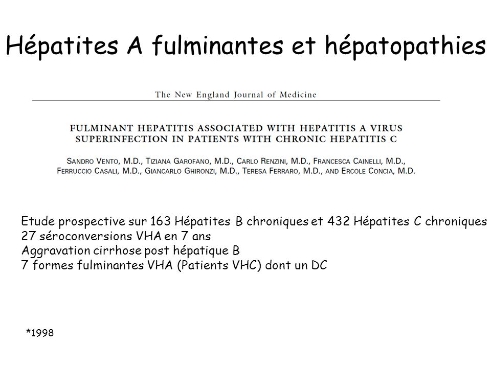 Hépatites A fulminantes et hépatopathies