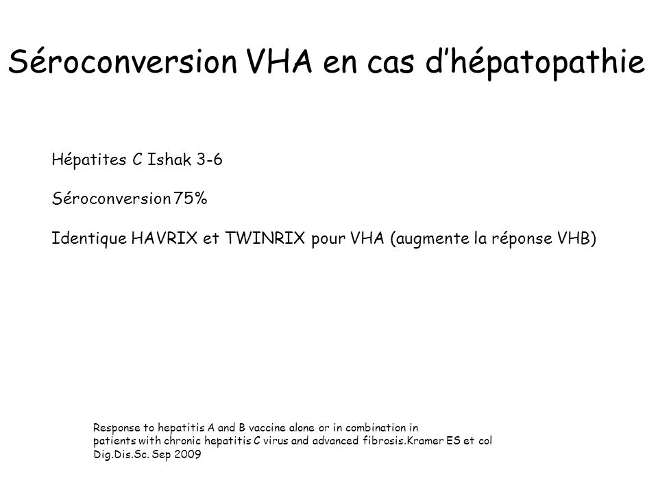 Séroconversion VHA en cas d'hépatopathie