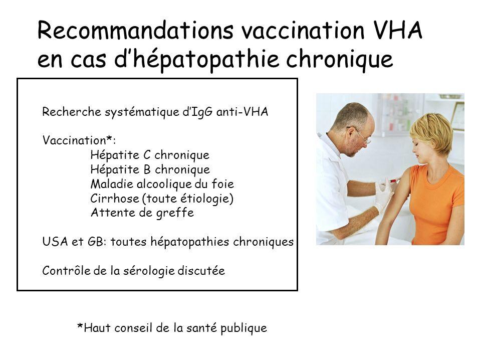 Recommandations vaccination VHA en cas d'hépatopathie chronique