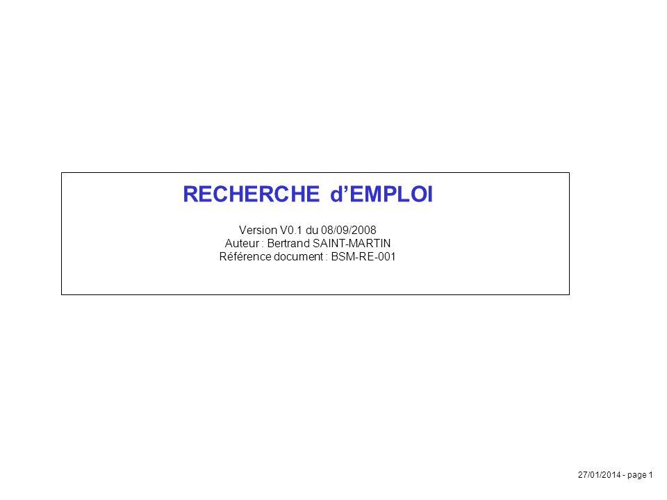 RECHERCHE d'EMPLOI Version V0