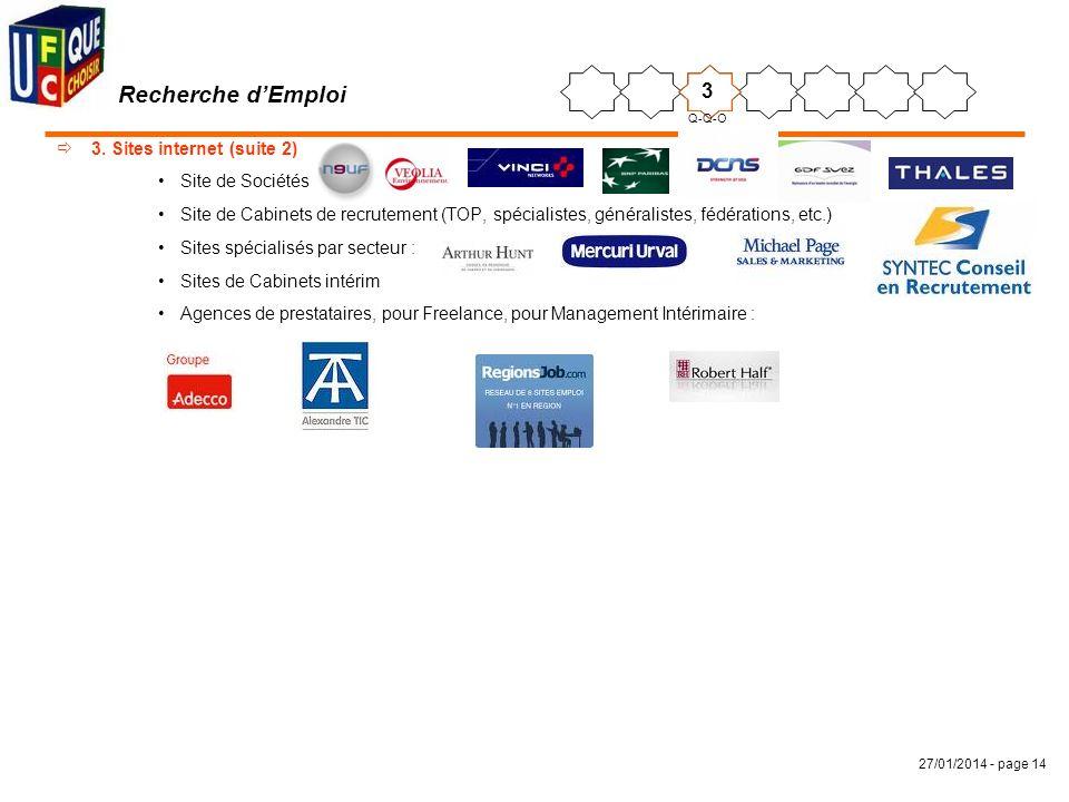 Recherche d'Emploi 3 3. Sites internet (suite 2) Site de Sociétés