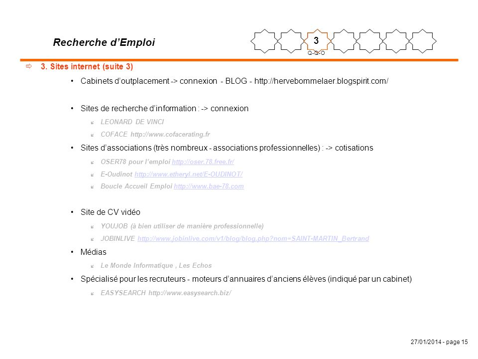 Recherche d'Emploi 3 3. Sites internet (suite 3)
