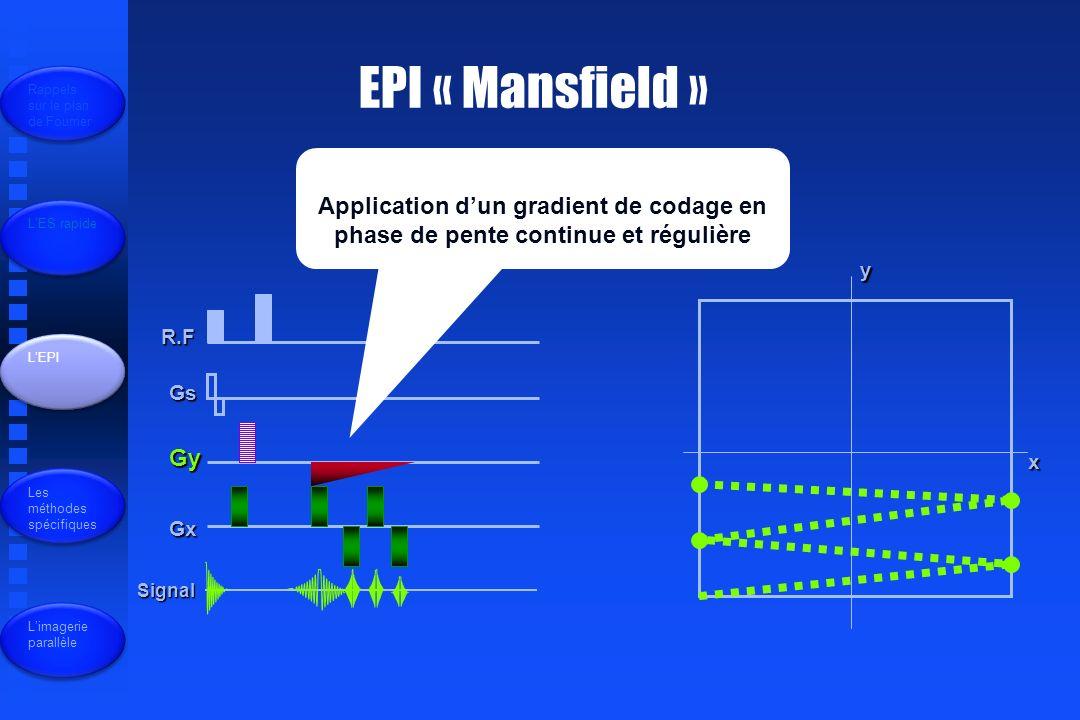 EPI « Mansfield » Rappels sur le plan de Fourrier. Application d'un gradient de codage en phase de pente continue et régulière.