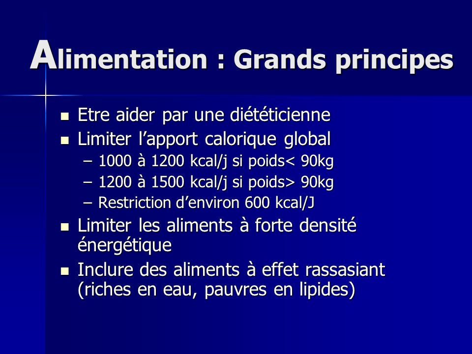 Alimentation : Grands principes