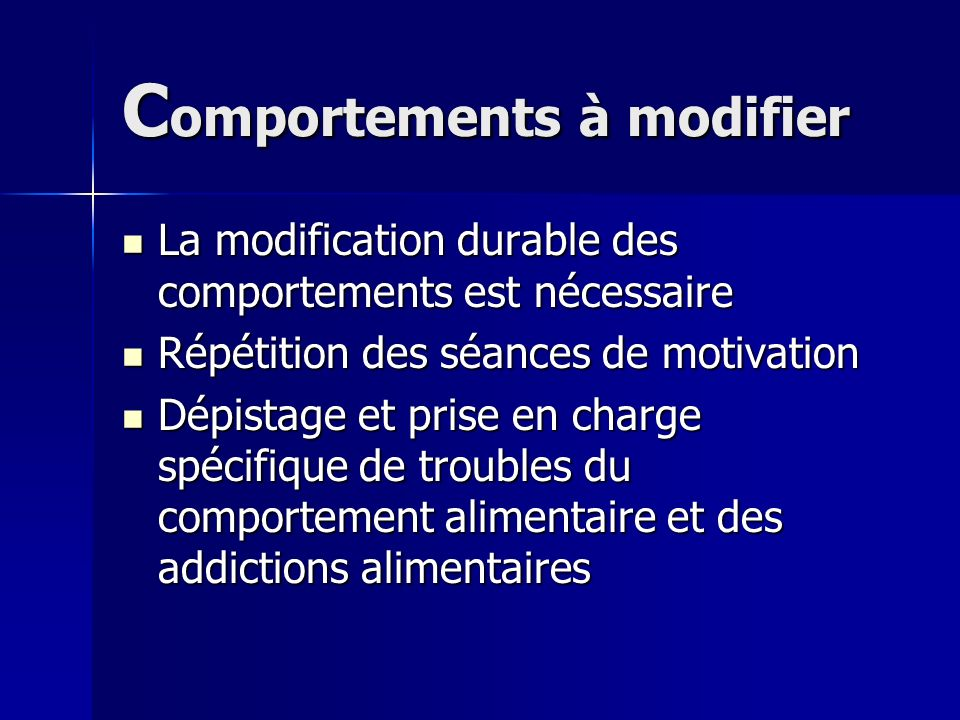Comportements à modifier
