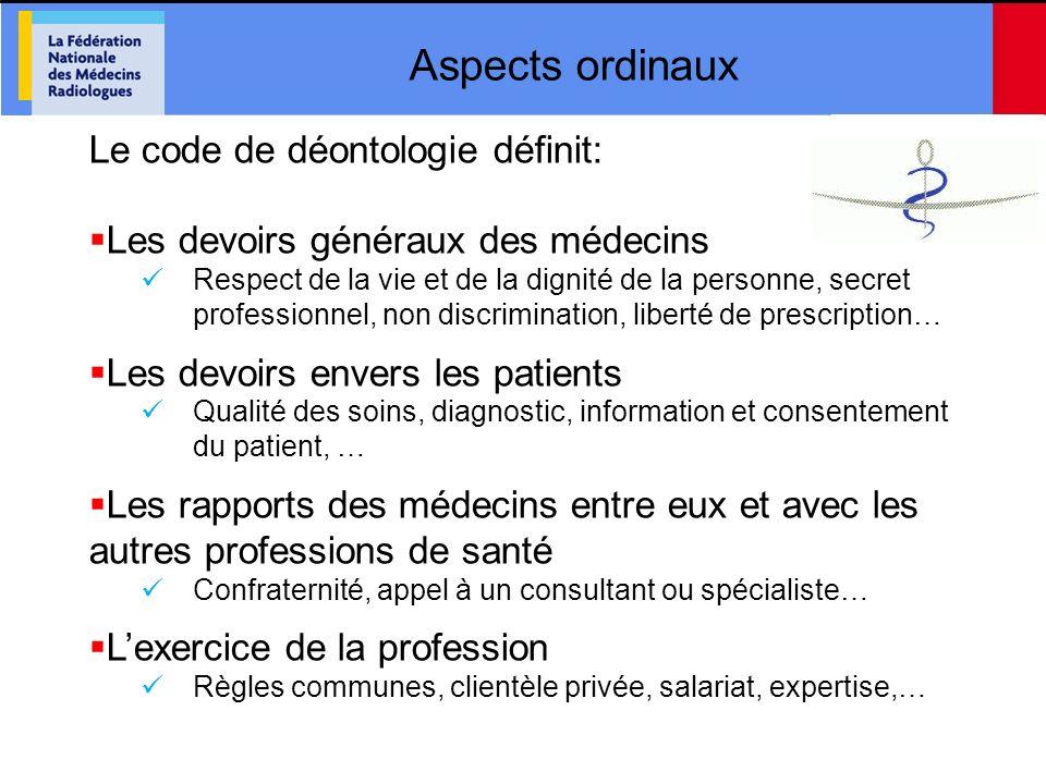 Aspects ordinaux Le code de déontologie définit: