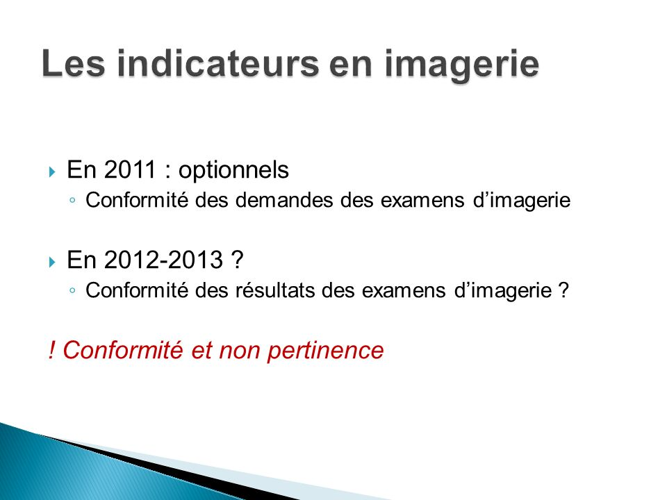 Les indicateurs en imagerie
