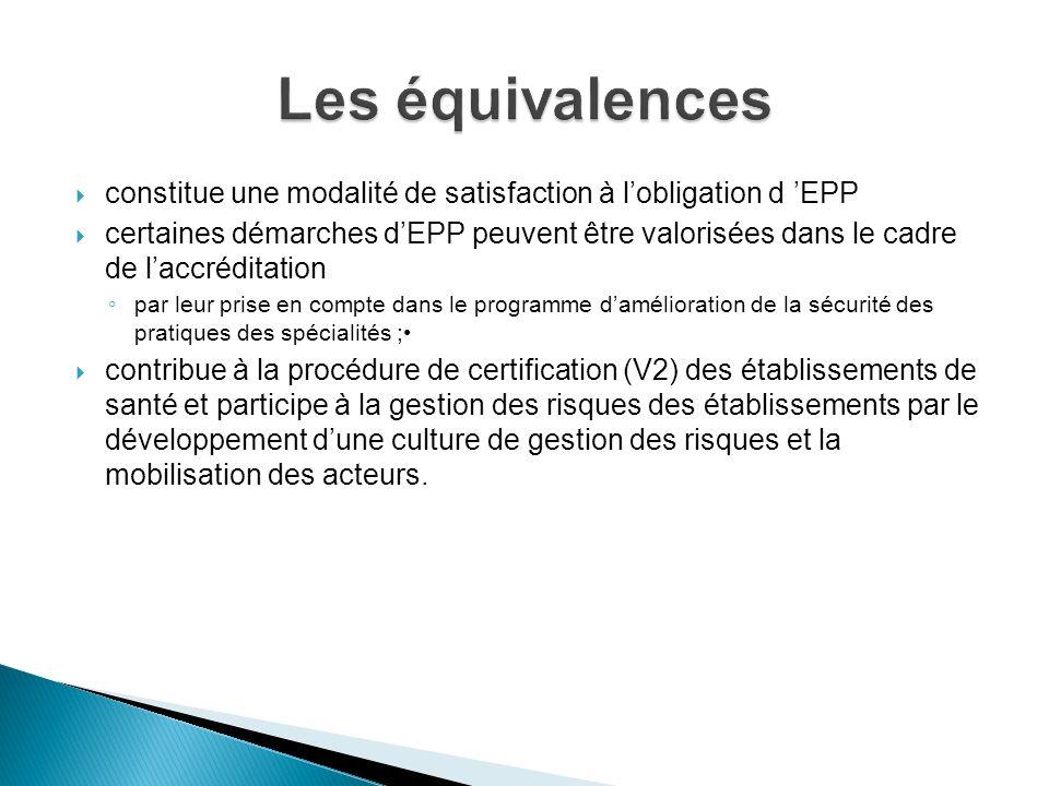 Les équivalences constitue une modalité de satisfaction à l'obligation d 'EPP.