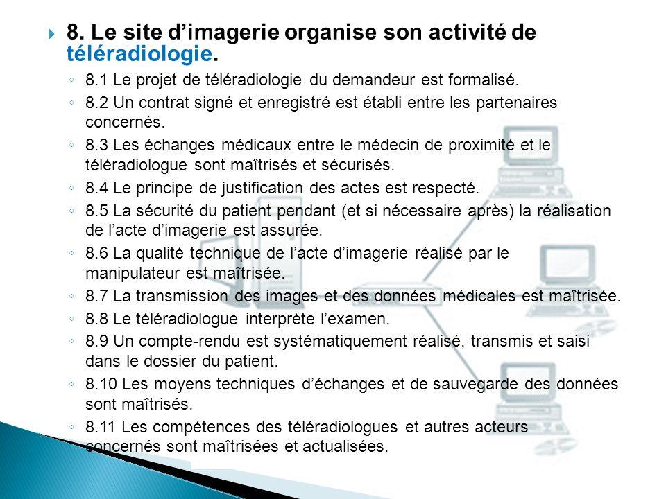 8. Le site d'imagerie organise son activité de téléradiologie.