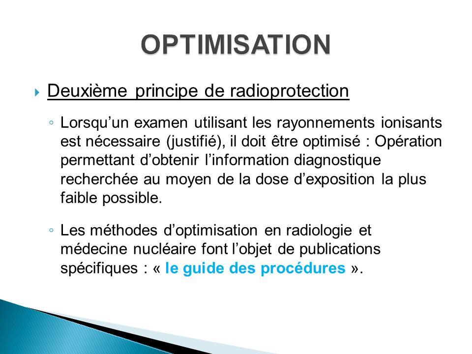 OPTIMISATION Deuxième principe de radioprotection