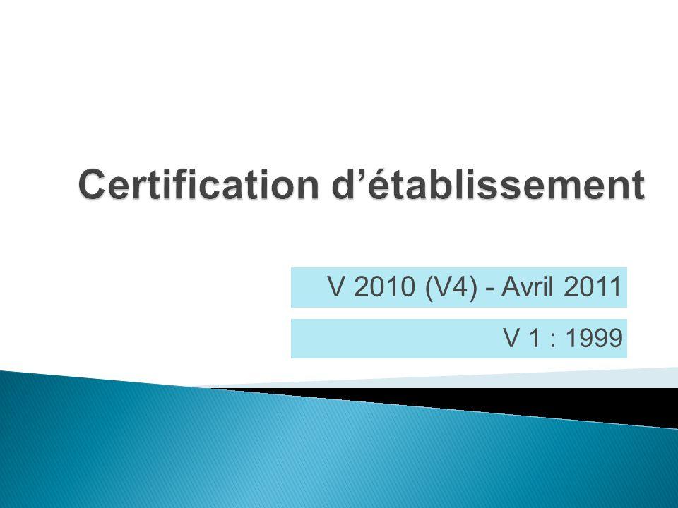 Certification d'établissement