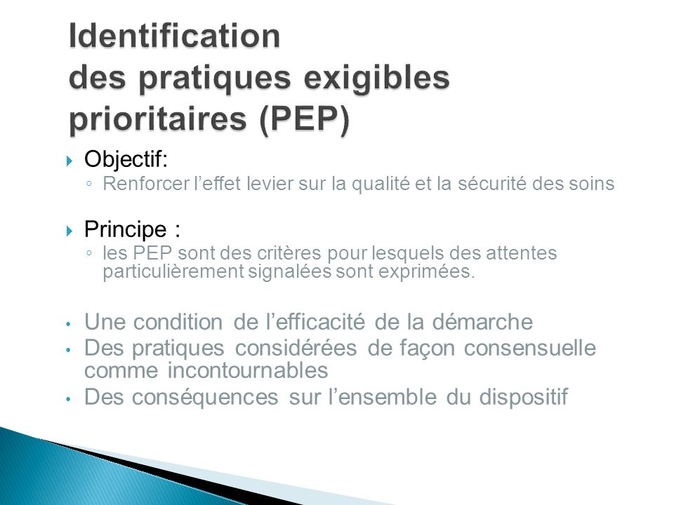 Identification des pratiques exigibles prioritaires (PEP)