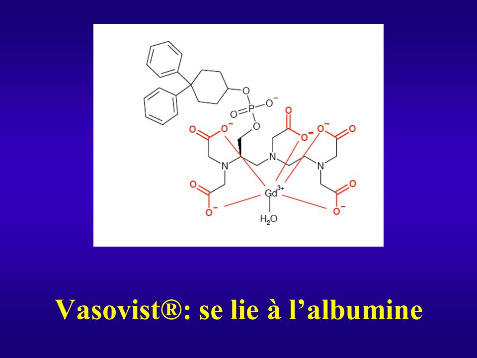Vasovist®: se lie à l'albumine