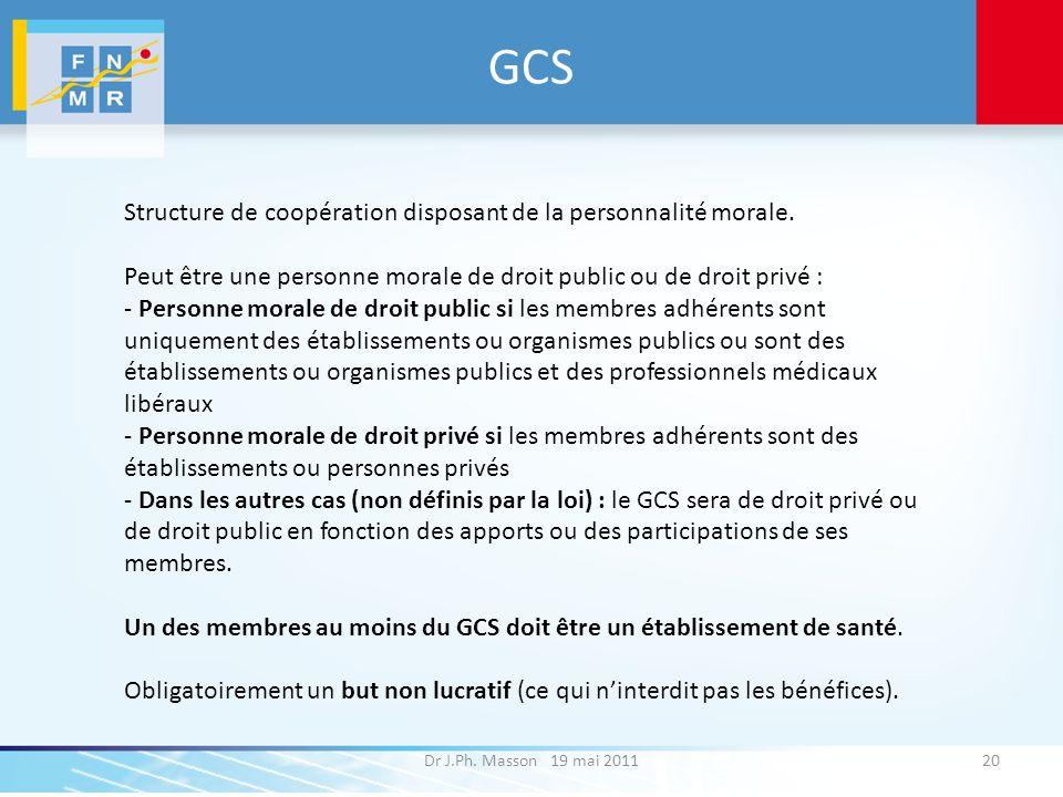 GCS Structure de coopération disposant de la personnalité morale.