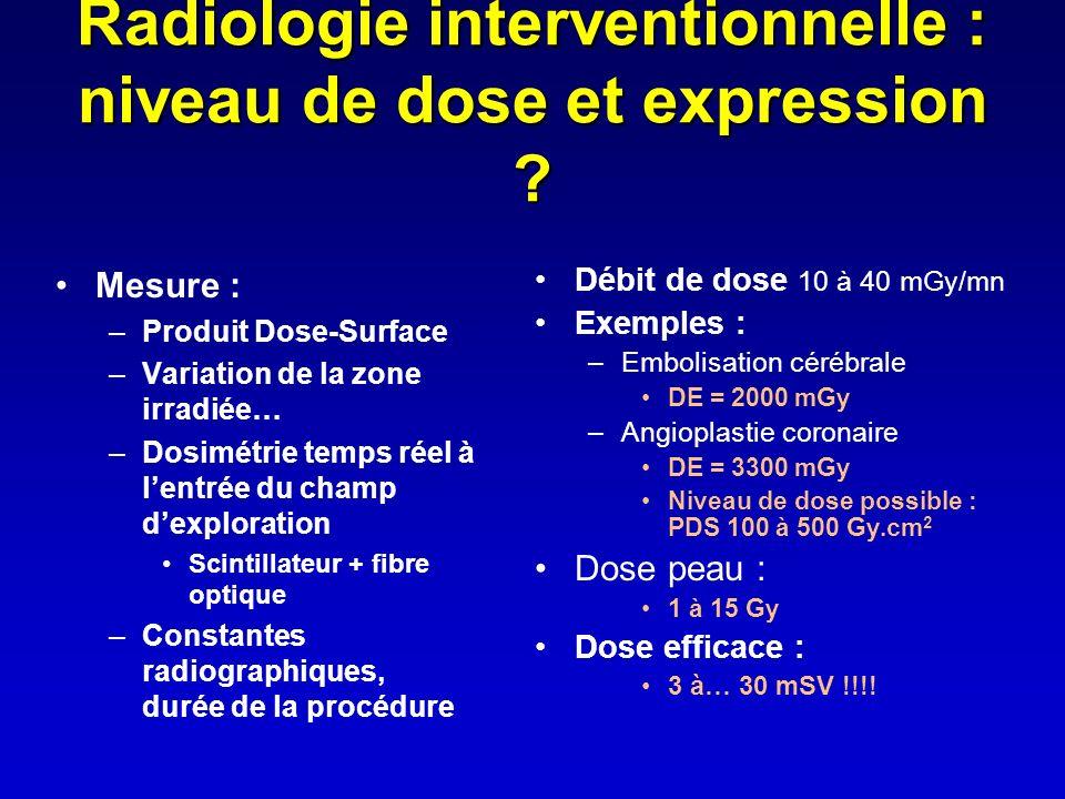 Radiologie interventionnelle : niveau de dose et expression