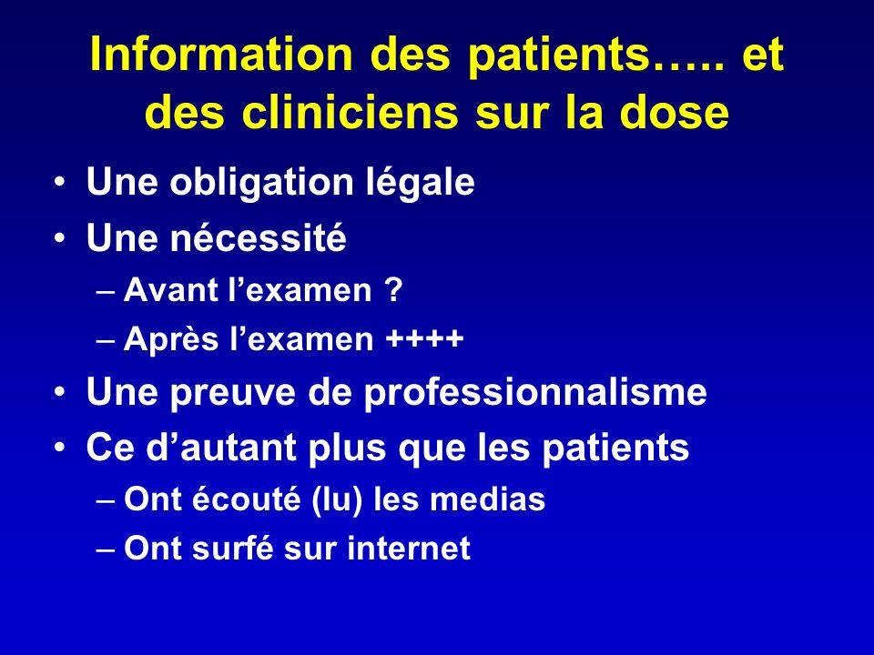 Information des patients….. et des cliniciens sur la dose