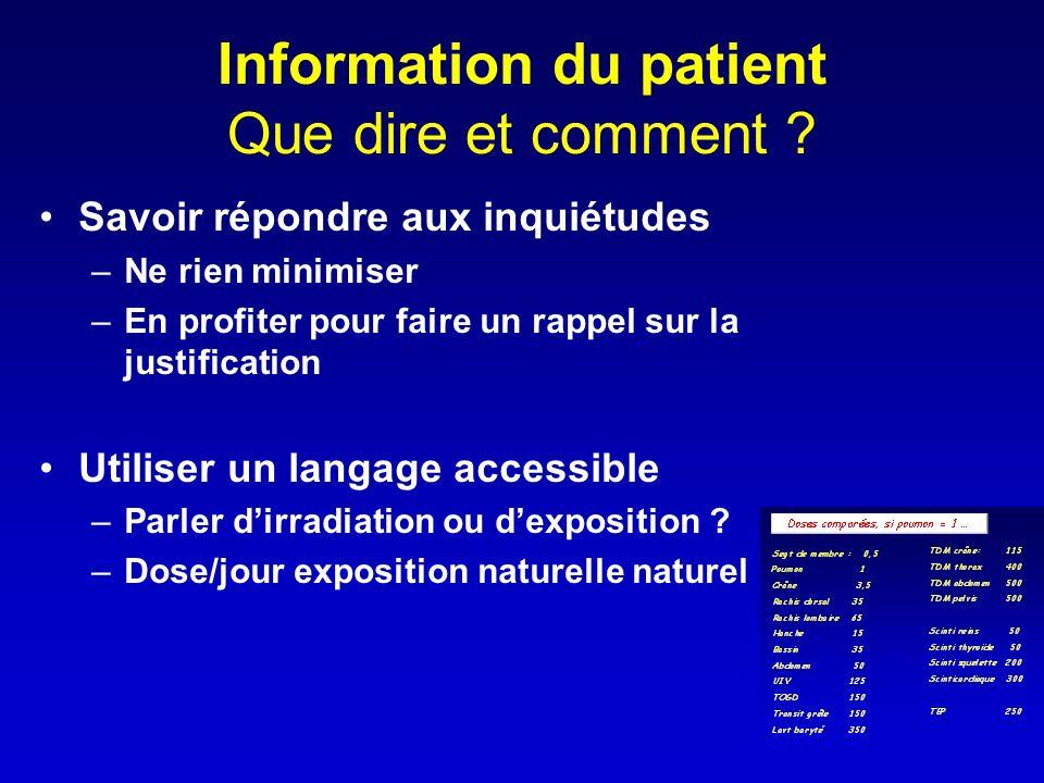 Information du patient Que dire et comment