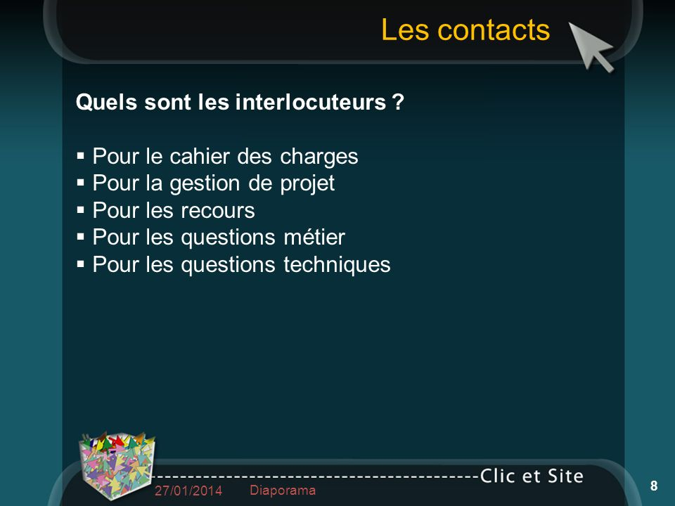 Les contacts Quels sont les interlocuteurs