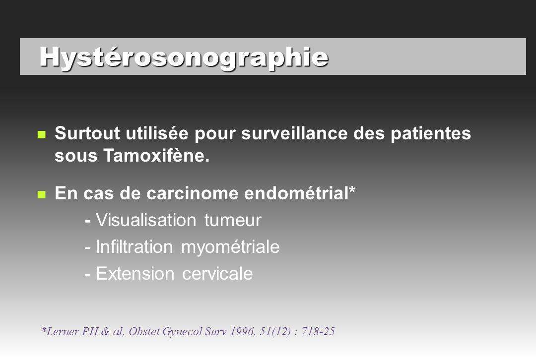 Hystérosonographie Surtout utilisée pour surveillance des patientes sous Tamoxifène. En cas de carcinome endométrial*