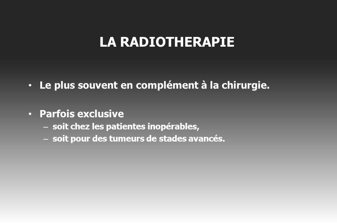 LA RADIOTHERAPIE Le plus souvent en complément à la chirurgie.