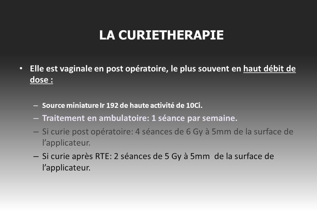 LA CURIETHERAPIE Elle est vaginale en post opératoire, le plus souvent en haut débit de dose : Source miniature Ir 192 de haute activité de 10Ci.