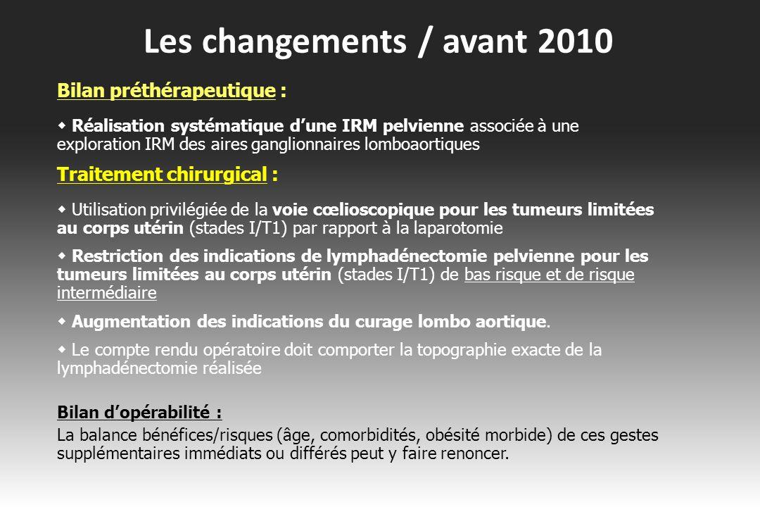 Les changements / avant 2010