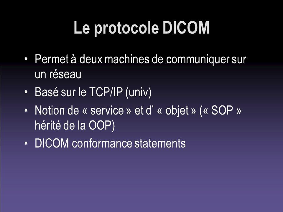 Le protocole DICOM Permet à deux machines de communiquer sur un réseau