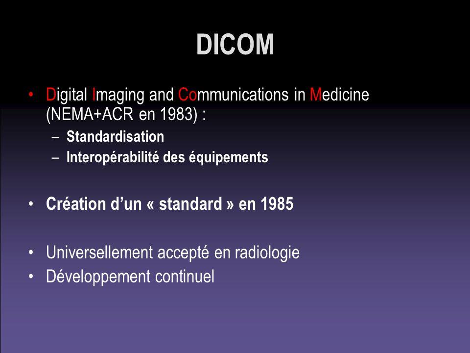 DICOM Digital Imaging and Communications in Medicine (NEMA+ACR en 1983) : Standardisation. Interopérabilité des équipements.
