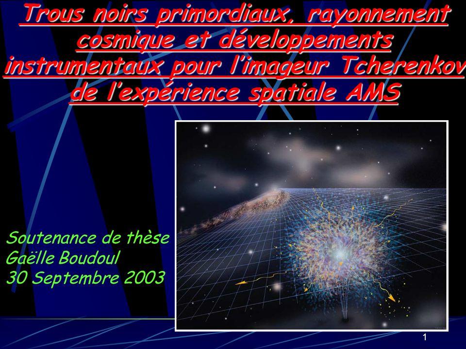 Trous noirs primordiaux, rayonnement cosmique et développements instrumentaux pour l'imageur Tcherenkov de l'expérience spatiale AMS