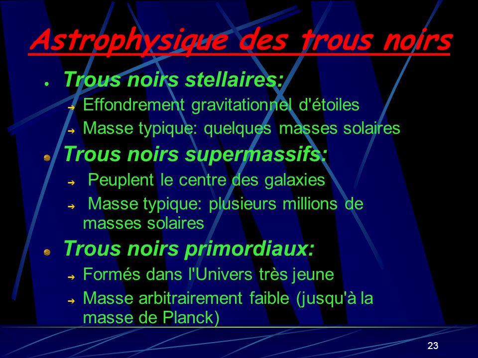 Astrophysique des trous noirs