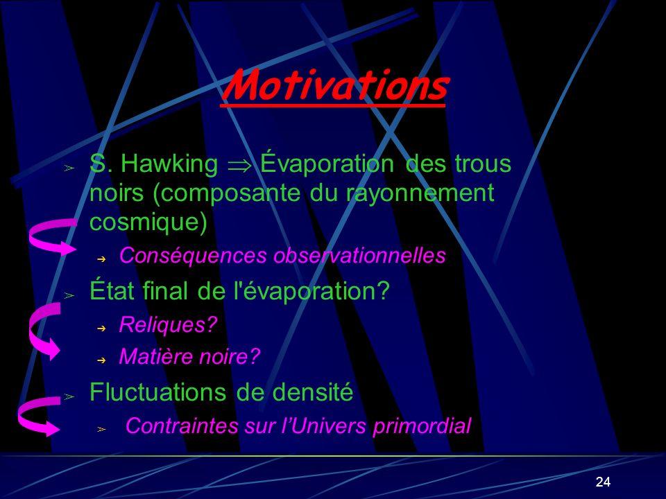 Motivations S. Hawking  Évaporation des trous noirs (composante du rayonnement cosmique) Conséquences observationnelles.