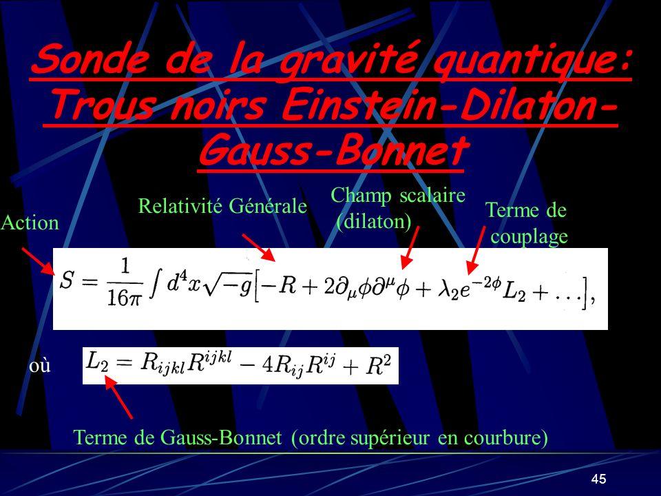 Sonde de la gravité quantique: Trous noirs Einstein-Dilaton-Gauss-Bonnet