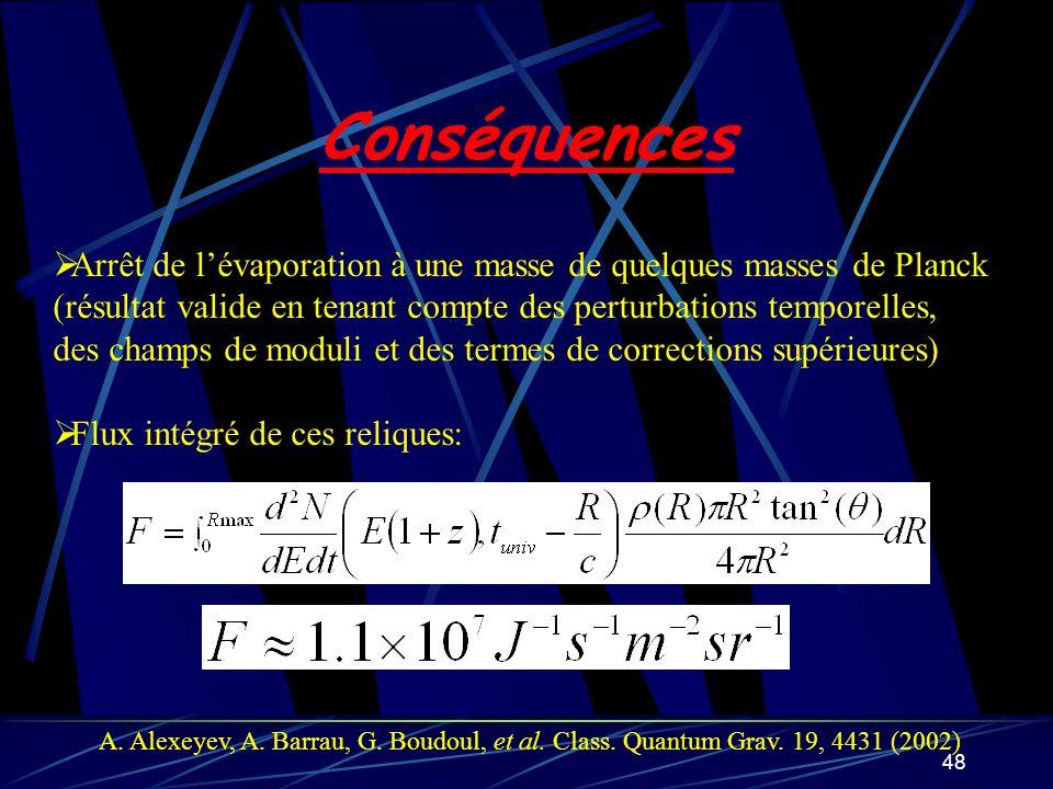 Conséquences Arrêt de l'évaporation à une masse de quelques masses de Planck. (résultat valide en tenant compte des perturbations temporelles,
