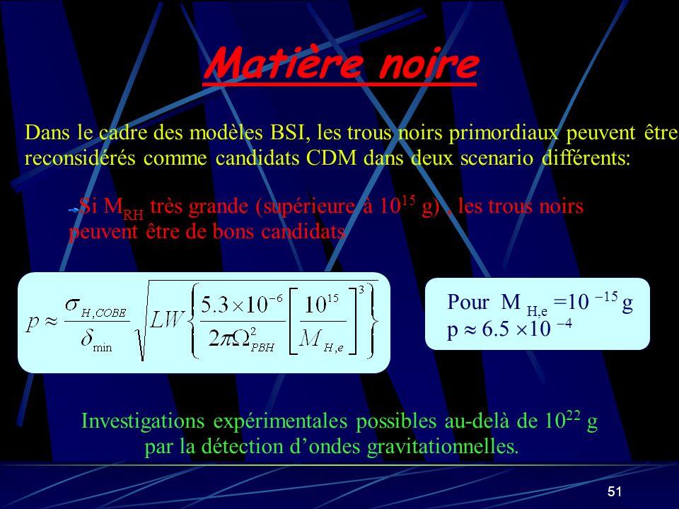 Matière noire Dans le cadre des modèles BSI, les trous noirs primordiaux peuvent être.